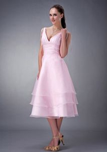Pink Layered V-Neck Spaghetti Straps Ruched Graduation Dress with Slender Ribbons